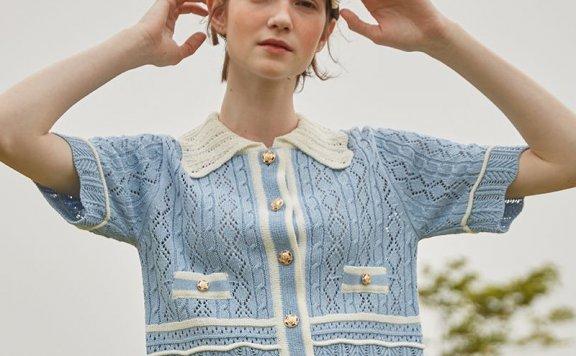 正品VITALSIGN韩国设计师品牌21夏款 小香风翻领拼色短袖针织开衫