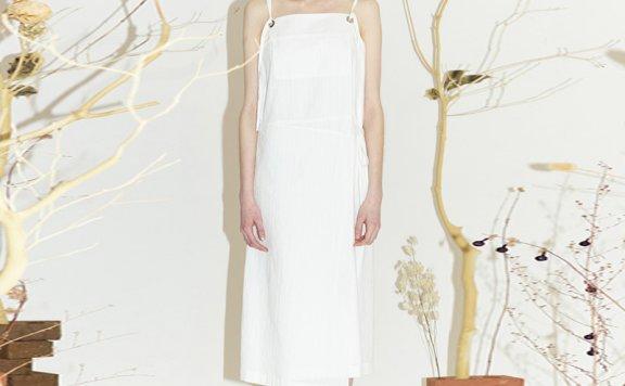 正品韩国设计师品牌ENOR 2021春夏纯棉层次绑带宽松吊带连衣裙