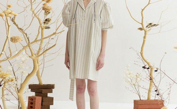 韩国设计师品牌ENOR 2021春夏棉质条纹泡泡袖腰带款短袖连衣裙