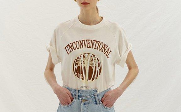 韩国设计师品牌ENOR 2021春夏美式纯棉圆领短袖印花宽松百搭T恤