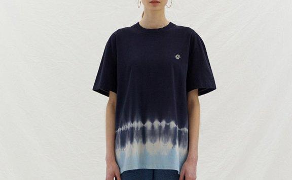 韩国设计师品牌ENOR 2021春夏纯棉圆领扎染徽标宽松百搭T恤直邮