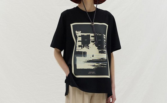 ENOR韩国设计师品牌 2021春夏纯棉圆领短袖印花宽松百搭T恤直邮