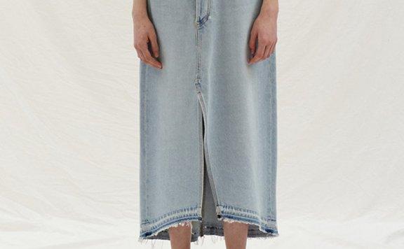 正品ENOR韩国设计师品牌 2021春夏纯棉不规则前开叉牛仔裙半身裙