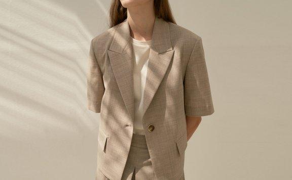 韩国设计师品牌MOHAN 21春夏西装领休闲百搭一粒扣短袖外套直邮