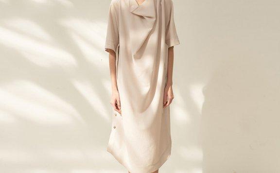 韩国设计师品牌MOHAN 21春夏垂褶领口腰带款休闲长连衣裙正品直邮
