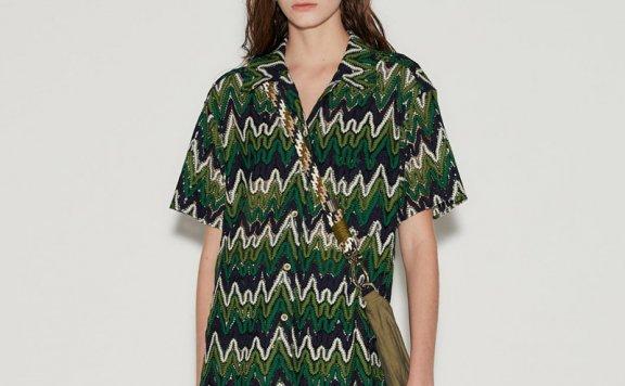 anderssonbell 韩国设计师品牌 21春夏绿色贴花半袖衬衫正品直邮