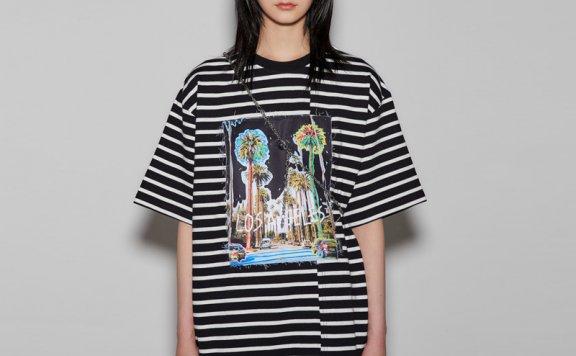 正品anderssonbell 韩国设计师品牌 21春夏不对称剪裁贴布短袖T恤