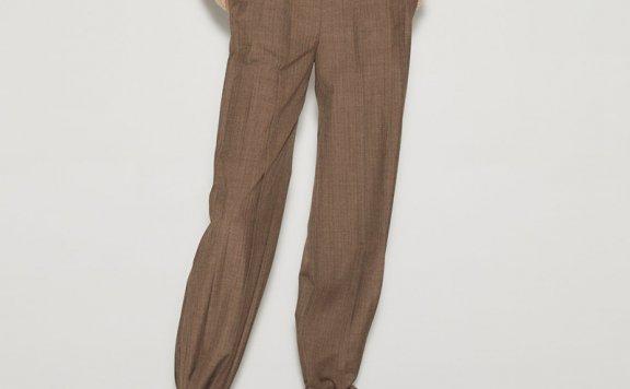 anderssonbell 韩国设计师品牌 21春夏 高腰压褶裸带裤直筒长裤