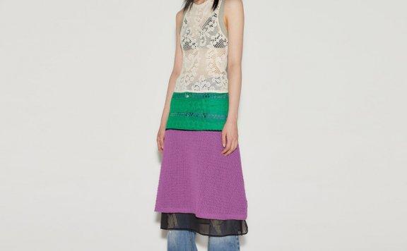 anderssonbell 韩国设计师品牌 21春夏 镂空拼色针织无袖连衣裙