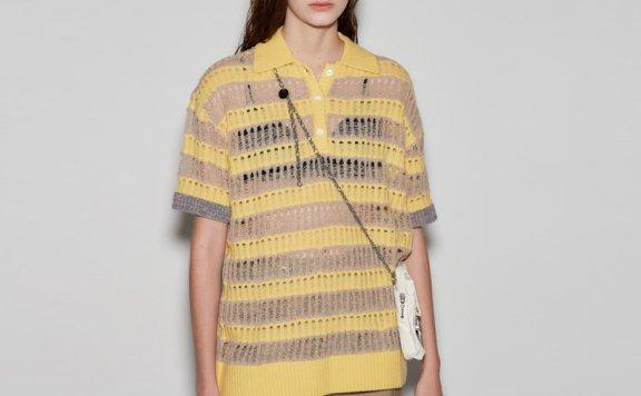 正品anderssonbell 韩国设计师品牌 21春夏 淡黄色条纹镂空针织衫