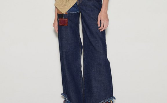 anderssonbell 韩国设计师品牌 21春夏 补丁设计高腰阔腿裤牛仔裤