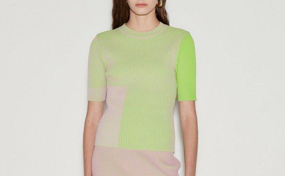 anderssonbell 韩国设计师品牌 21春夏 粉绿色罗纹短袖针织衫直邮