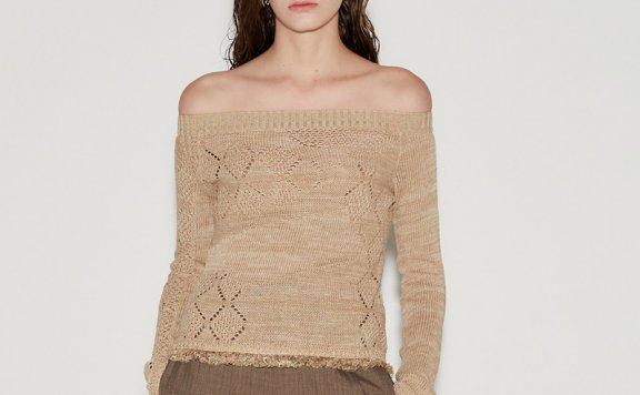 anderssonbell 韩国设计师品牌 21春夏 露肩亚麻长袖针织衫正品