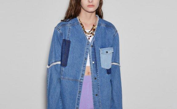 anderssonbell 韩国设计师品牌 21春夏 NICOLA贴布无领牛仔衬衫