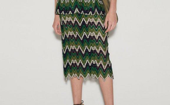 anderssonbell 韩国设计师品牌 21春夏绿色贴花半身裙正品直邮