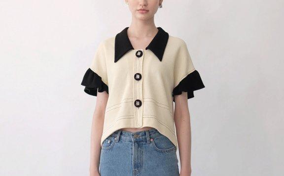 韩国设计师品牌THE ASHLYNN 21春夏纯棉拼色翻领短袖纽扣衬衫直邮