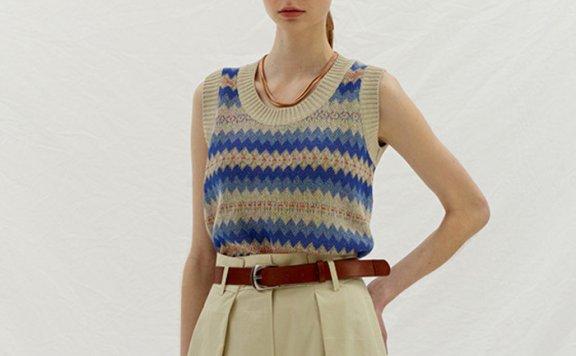 正品代购ENOR韩国设计师品牌 21春夏撞色提花针织马甲背心直邮