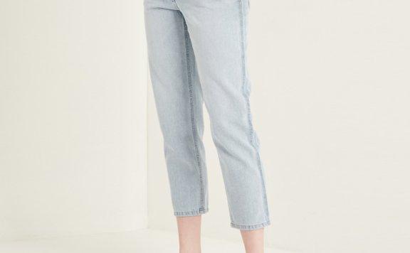 韩国设计师品牌SJSJ 21春夏浅蓝色纯棉直通九分牛仔裤正品直邮