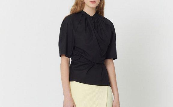 正品HAE BY HAEKIM  21春夏 韩国设计师品牌纯棉抽褶领层次雪纺衫