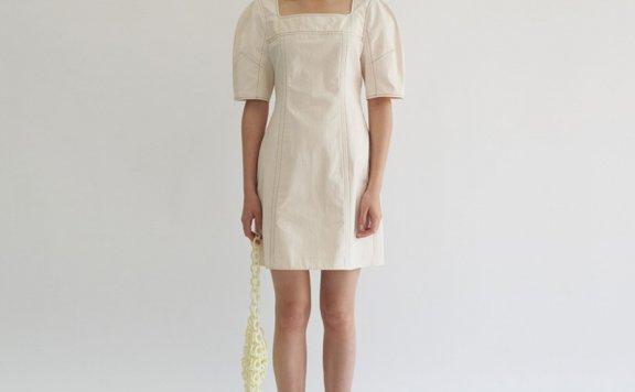 正品代购韩国设计师品牌GROVE 21春夏棉质方领短袖收腰显瘦连衣裙