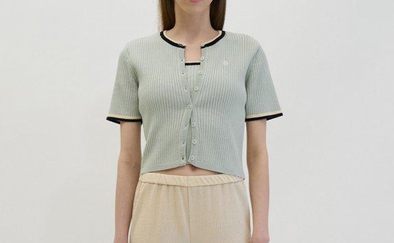 韩国设计师品牌GROVE 21春夏 棉质修身拼色罗纹短袖针织开衫直邮