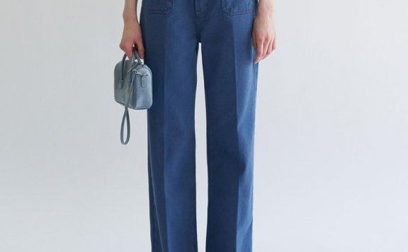 韩国设计师品牌GROVE 21春夏 纯色宽松百搭直筒微喇裤牛仔裤长裤