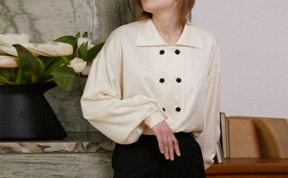 韩国设计师品牌 NOMINATE 21春夏法式复古翻领双排扣长袖衬衫正品