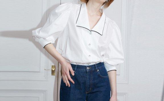 正品代购韩国设计师品牌 NOMINATE 21春夏法式复古翻领泡泡袖衬衫