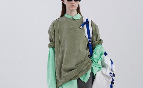 正品ADER ERROR 韩国设计师品牌 20夏款 流苏分层刺绣线条短袖T恤