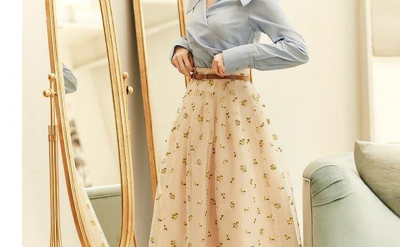 孙艺珍代言BAU by Bride And You韩国设计师品牌刺绣薄纱裙半身裙