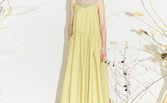 正品代购韩国设计师品牌ENOR 2021春夏纯棉拼色吊带款压褶连衣裙