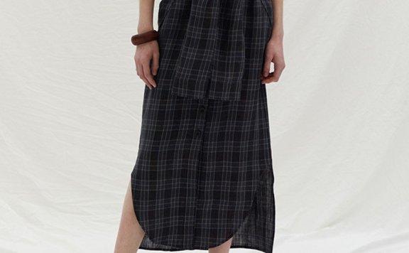 正品代购ENOR韩国设计师品牌 2021春夏高腰亚麻绑带格纹半身裙