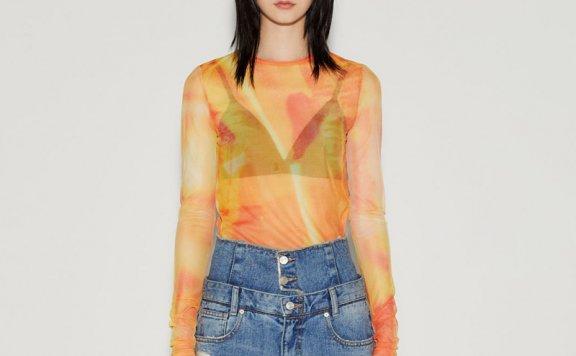 正品代购anderssonbell 韩国设计师品牌 21春夏抽象印花网纱上衣