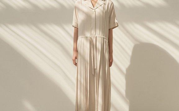 正品代购韩国设计师品牌MOHAN 21春夏纯棉西装领短袖百褶长连衣裙