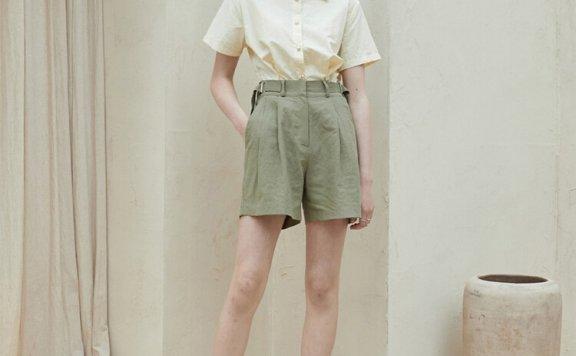 正品代购JOORTI 韩国设计师品牌 21夏款 亚麻纯色细褶休闲短裤