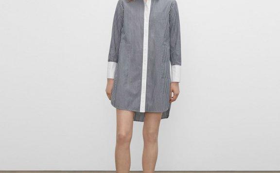 正品直邮CLUB MONACO 21夏款 纯棉森系长款条纹衬衫