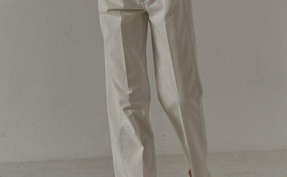 facade pattern 韩国设计师品牌 21夏款经典款纯棉褶线直筒牛仔裤