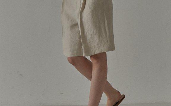 facade pattern 韩国设计师品牌 21夏 亚麻褶皱中高腰宽松五分裤