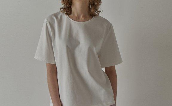 facade pattern 韩国设计师品牌 21夏 纯棉圆领基础款短袖T恤上衣