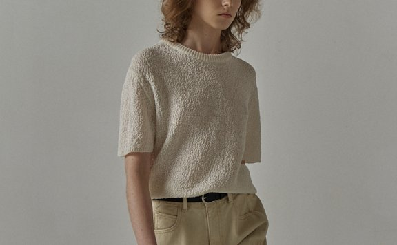 facade pattern 韩国设计师品牌 21夏 亚麻圆领象牙白短袖T恤上衣
