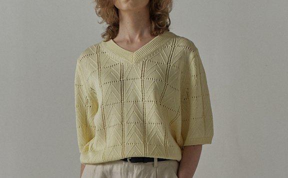 facade pattern 韩国设计师品牌 21夏 丝光棉复古V领中袖针织衫