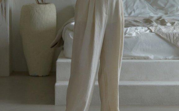正品代购韩国设计师品牌 H8 21夏 水洗亚麻舒适宽松风休闲阔腿裤