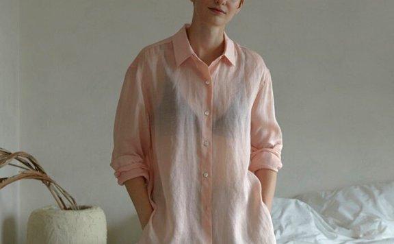 正品代购韩国设计师品牌 H8 21夏 亚麻宽松防晒长袖薄款衬衫上衣