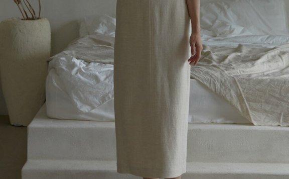 正品代购韩国设计师品牌 H8 21夏 日杂风混纺褶线口袋过膝半身裙