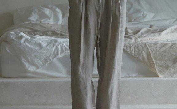 韩国设计师品牌 H8 21夏 亚麻松紧抽绳腰带宽松褶皱休闲阔腿裤