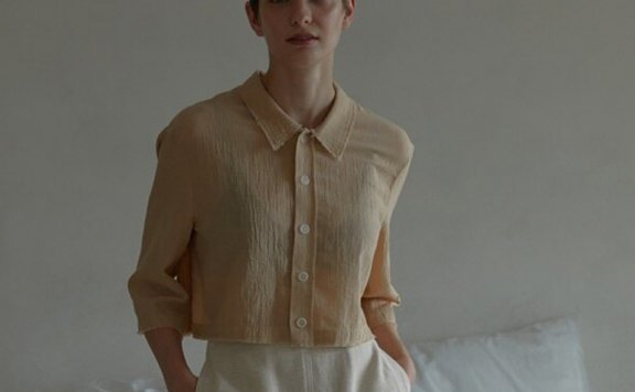 正品代购韩国设计师品牌 H8 21夏 棉质翻领毛线边短款衬衫上衣