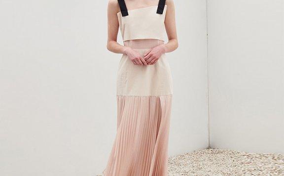韩国设计师品牌 EIEN29 21春夏 肩带款修身显瘦褶裥连衣裙正品