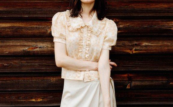 LOOKAST 韩国设计师品牌 21夏 纯棉褶边翻领泡泡袖衬衫上衣正品