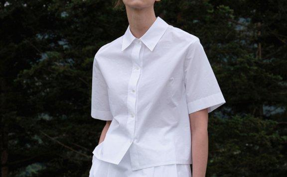 MOIA 韩国设计师品牌 21夏 纯棉翻领系带露背短袖衬衫上衣直邮