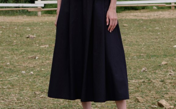 正品代购MOIA 韩国设计师品牌 21夏 纯棉过膝百褶半身裙直邮